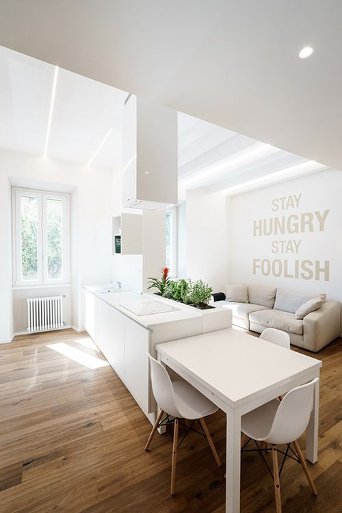 Open-space, minimalist apartment with all-white interior in Rome, Italy by Brain Factory - Architecture & Design