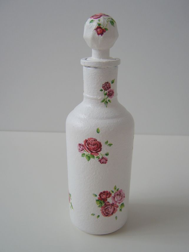 Glass small bottle decoupage craft crafts bottle and for Glass bottle project ideas