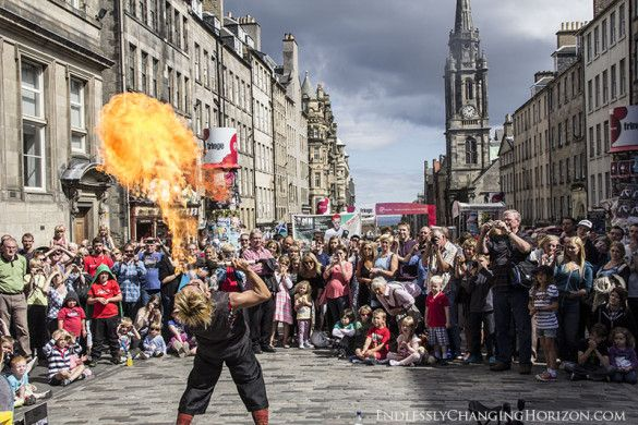 A street performer breathing fire at the Edinburgh Fringe Festival 2013. More photos when you click on the link.
