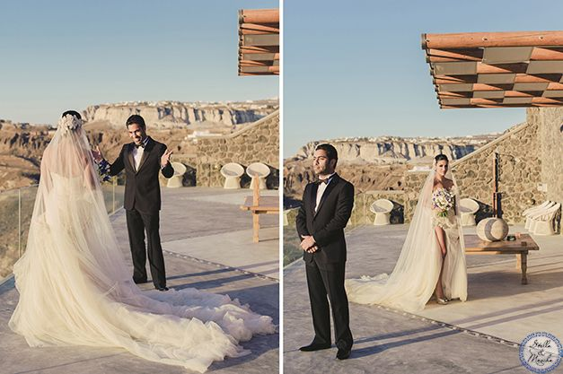 First Look   Santorini Wedding by Stella and Moscha - Exclusive Greek Island Weddings   Photo by Anna Roussos   Cavo Ventus Private Villa - Greece