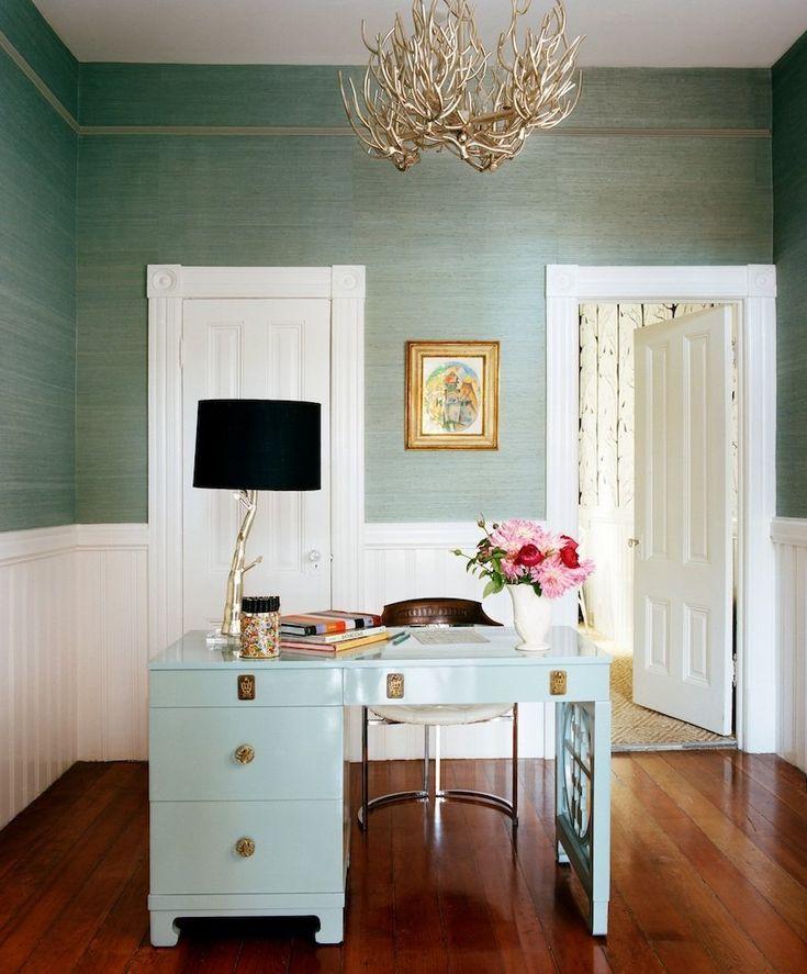 Mint Green Grasscloth And Desk Plus White Gold Black