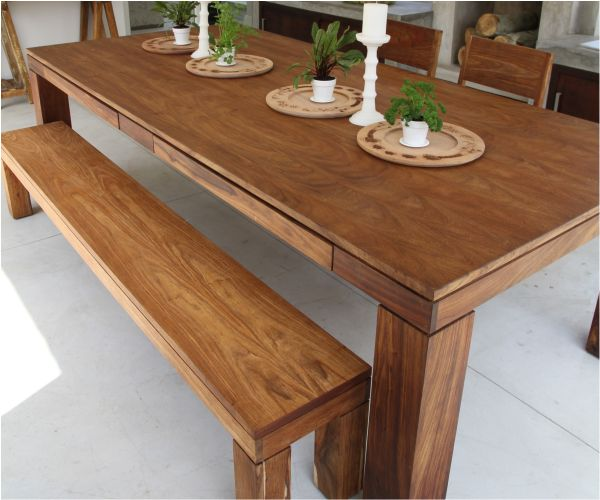 Kiaat Wood Kitchen: Earth Dining Table With Drawers And Earth Bench In Kiaat