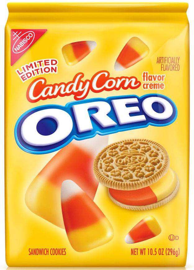 Candy corn-flavored Oreos. Whoa. What? I never saw these, but I want to try 'em!