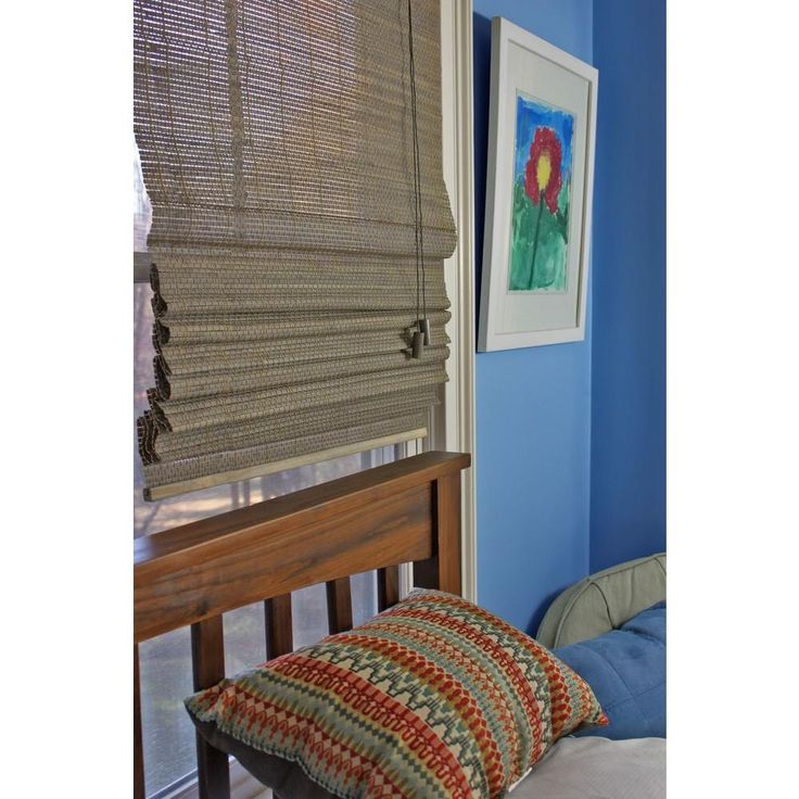 Home Decorators Collection Driftwood Beveled Reed Weave Bamboo Roman Shade 35 In W X 48 In L Actual Size 34 5 In W X 48 In L 0259835 The Home Depot