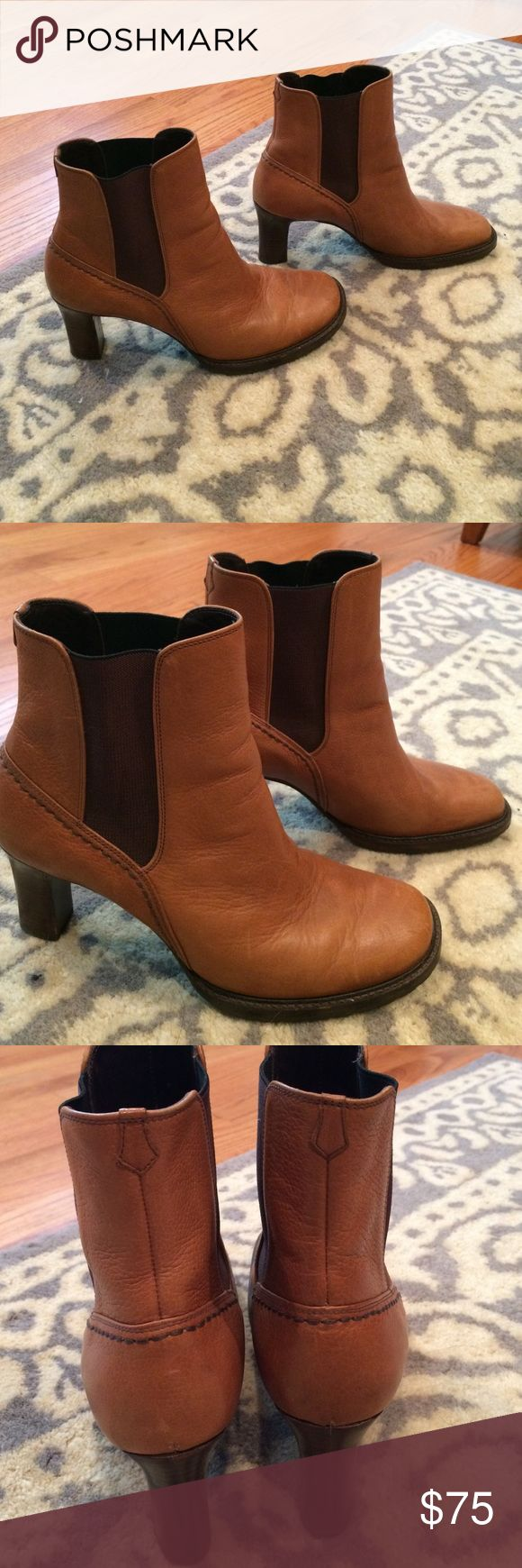 Cole Haan Tan Chelsea boot In excellent condition!  Perfect for a skirt or jeans!  Great addition to any fall wardrobe!  Tan leather with a wood stacked heel.  Size 8.5 Cole Haan Shoes Ankle Boots & Booties