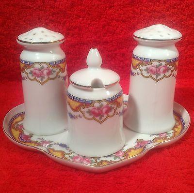 Antique Czech 1920's Porcelain Salt Pepper Condiment Set w ...