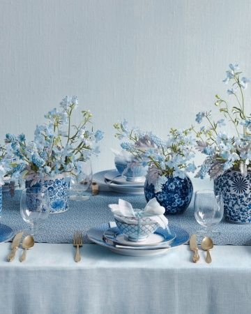 Serene blues… delphiniums, muscari, dusty miller and periwinkles
