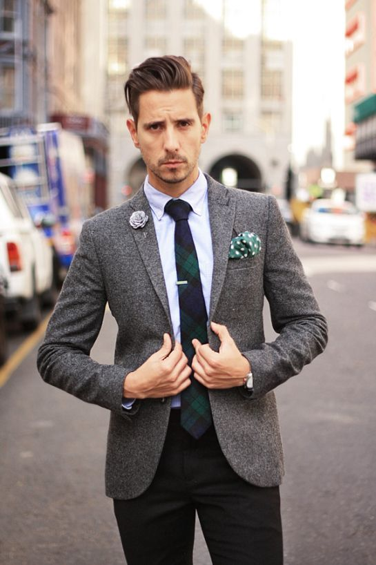 black suit flannel - Google Search check that jacket, pocket square and rose pin