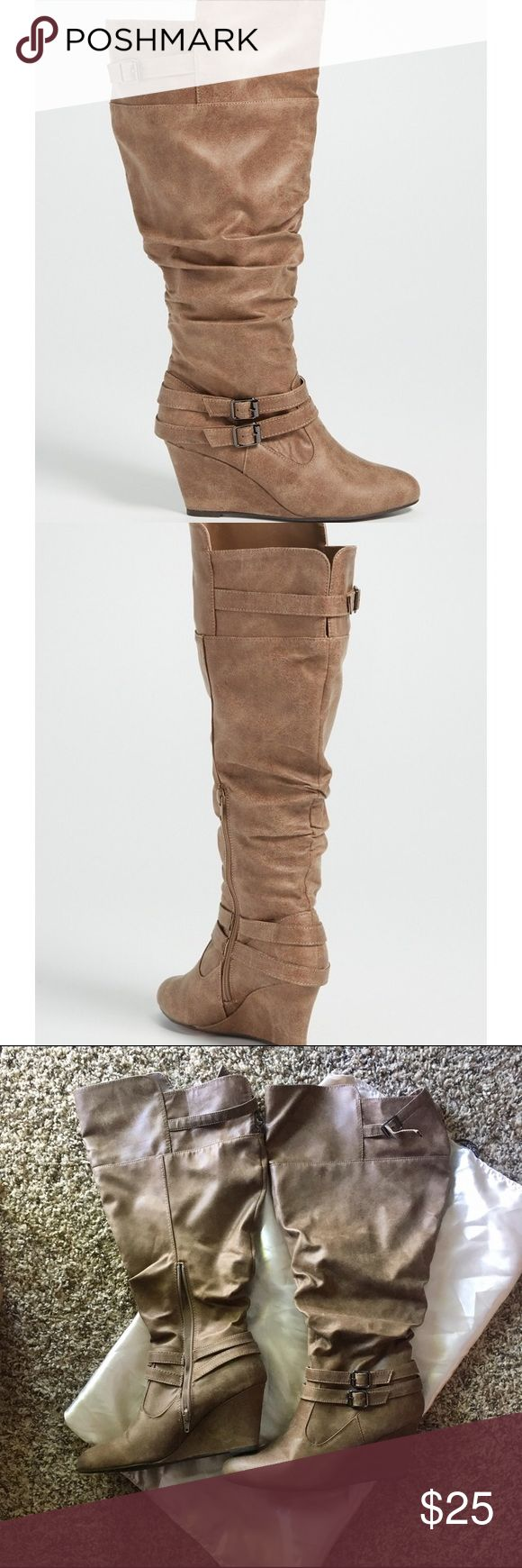 Maurices wide calf boots Size 9 wide wedge boot. Only worn once, smoke free home. First 2 pics depict true color, my photos pulled more gray than tan. Maurices Shoes Heeled Boots