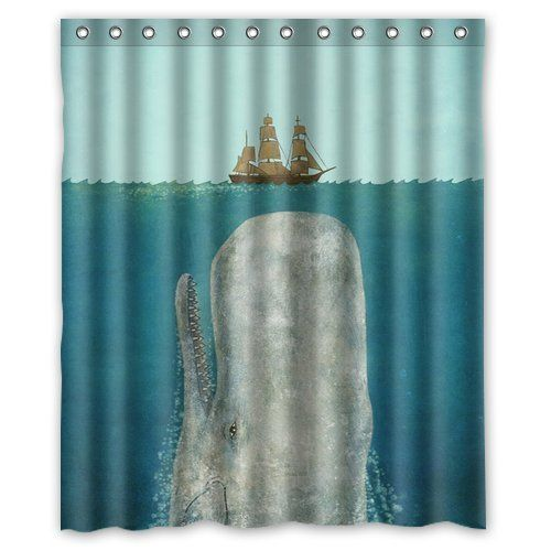 Custom Shower Curtain Whales And Ship Waterproof Fabric B…
