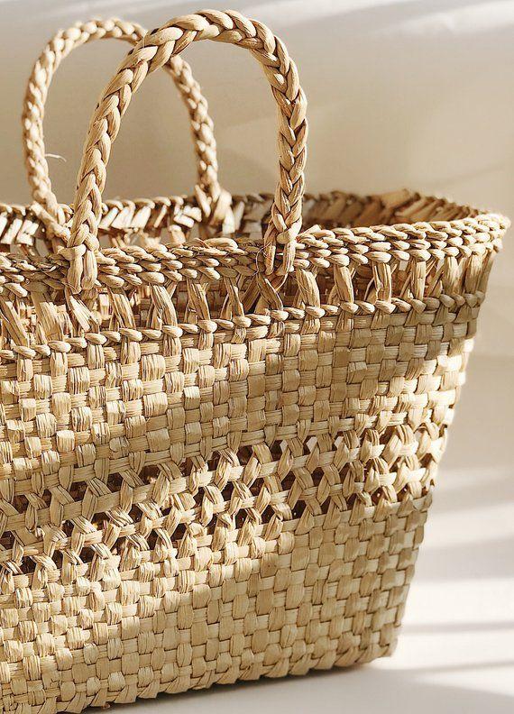 Beach Bag Beach Straw Bag market bag French basket square BOHO macrame STRAW TOTE  bag beach tote Straw Tote Beach Tote