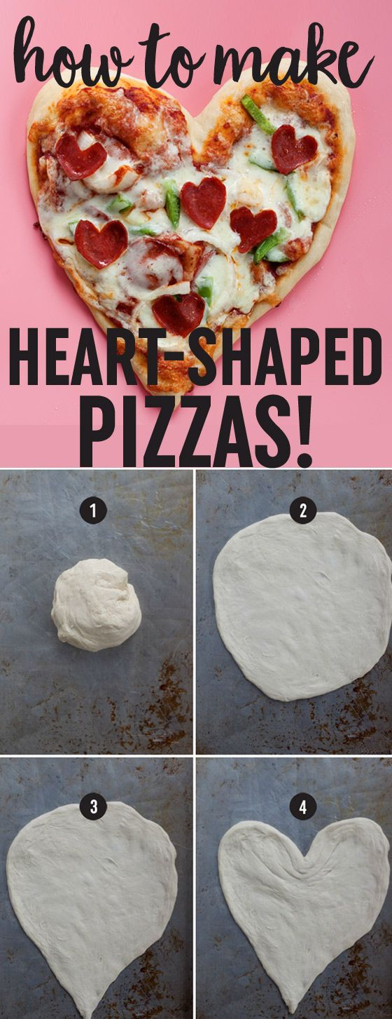 """How to Make Heart-Shaped Pizzas - Easy step-by-step tutorial with photos. Grab some dough, arm yourself with the """"pinch-and-pull"""" technique, and go heart-shaped this Valentine's Day! Easily customized for meat-eaters, vegetarians, or vegans."""