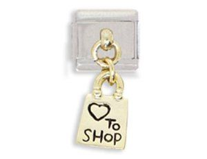 Love To Shop Shopping Bag Dangle Italian Charm Bracelet Link Clearly Charming. $1.99