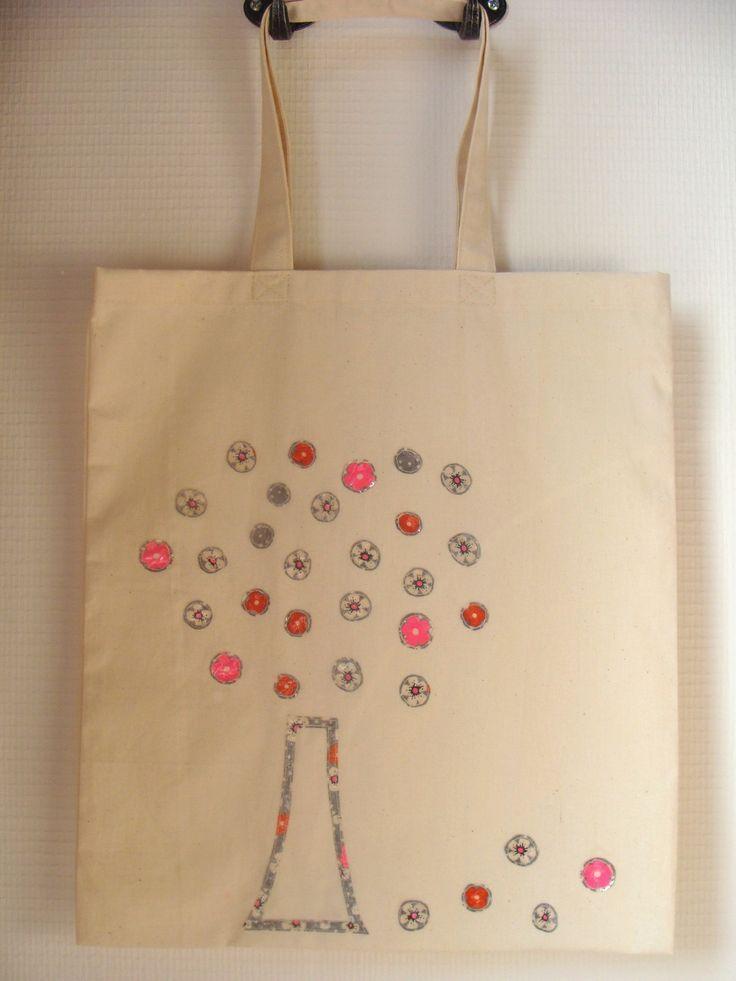 """Sac """"tote"""" toile coton brut écru décoré arbre en fleurs : Autres sacs par les-p-tites-cueillettes"""