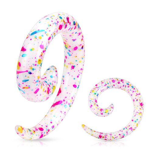 10 mm taper spiraal blauw, roze en gele spetters