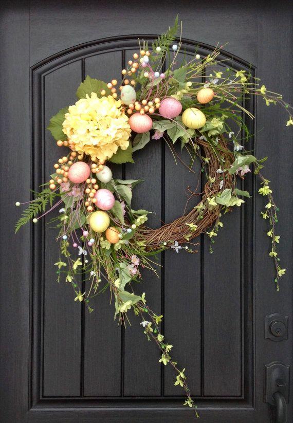 Spring Wreath Easter Egg Summer Grapevine Door Decor Yellow Hydrangea Pink Blue Green Indoor Outdoor Decoration