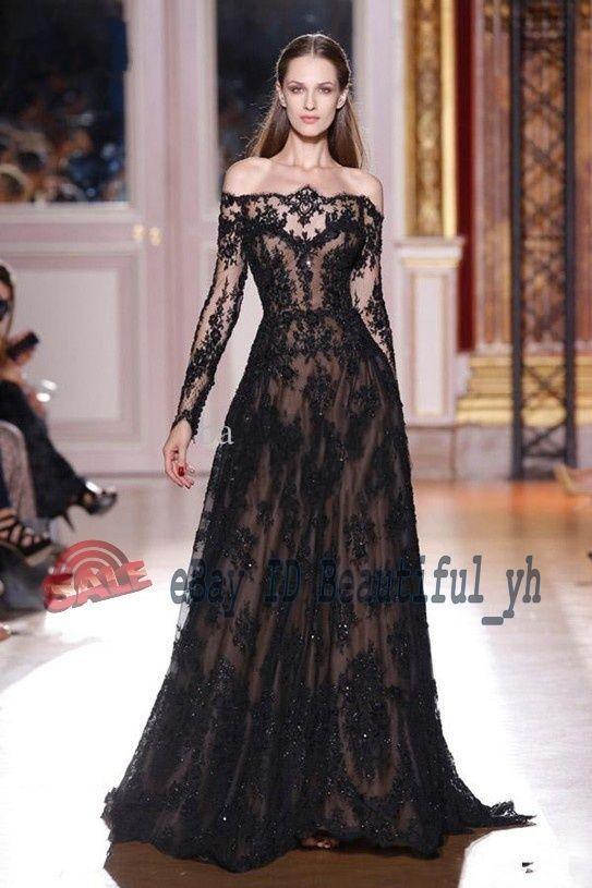 2014 Schwarz Spitze Brautkleid Hochzeitskleid Ballkleid Abendkleid Partykleider