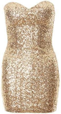 Gold Strapless Sequin Bodycon Mini Dress
