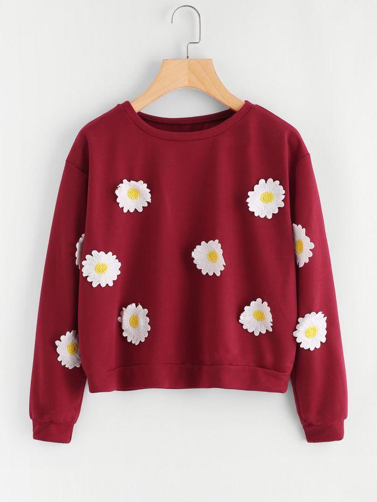 Flower Embroidered Patch Sweatshirt