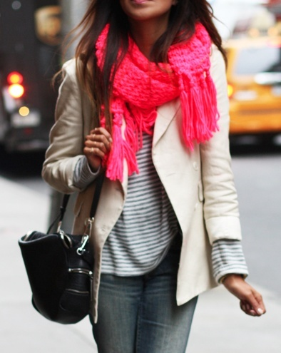 Bright scarves with neutrals