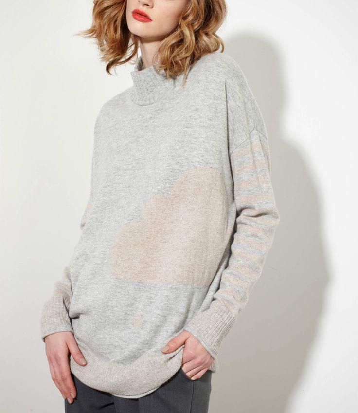 Pivotal Sweater featuring an intarsia rain cloud - Cashmere/Merinowww.nineteen46.co.nz