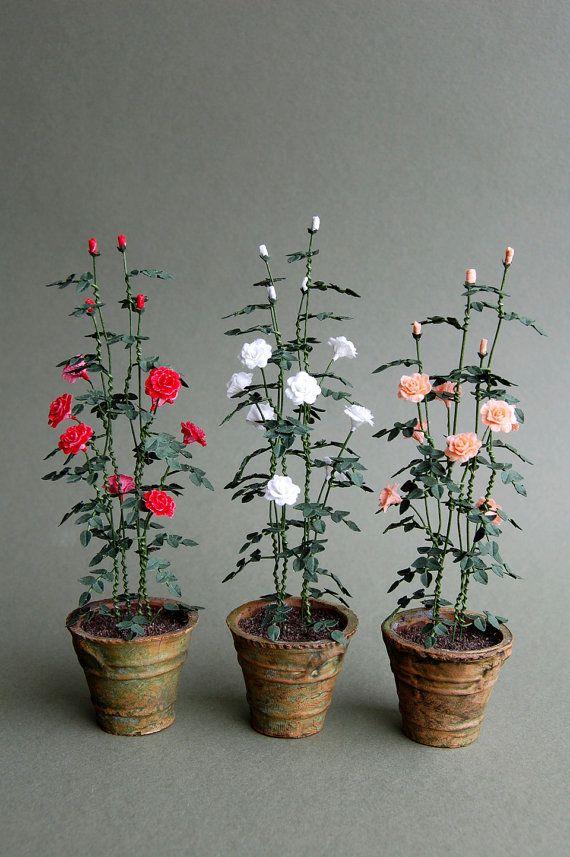 Shrub Rose Paper Flower Kit for 1/12th by TheMiniatureGarden