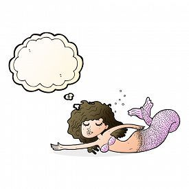 pic of mermaid - cartoon mermaid with thought bubble - JPG