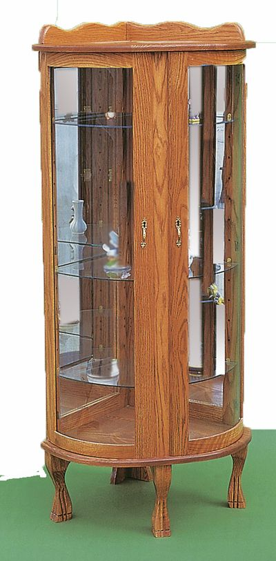 Corner Curio Cabinet, Ohio Amish Oak Furniture 19 In