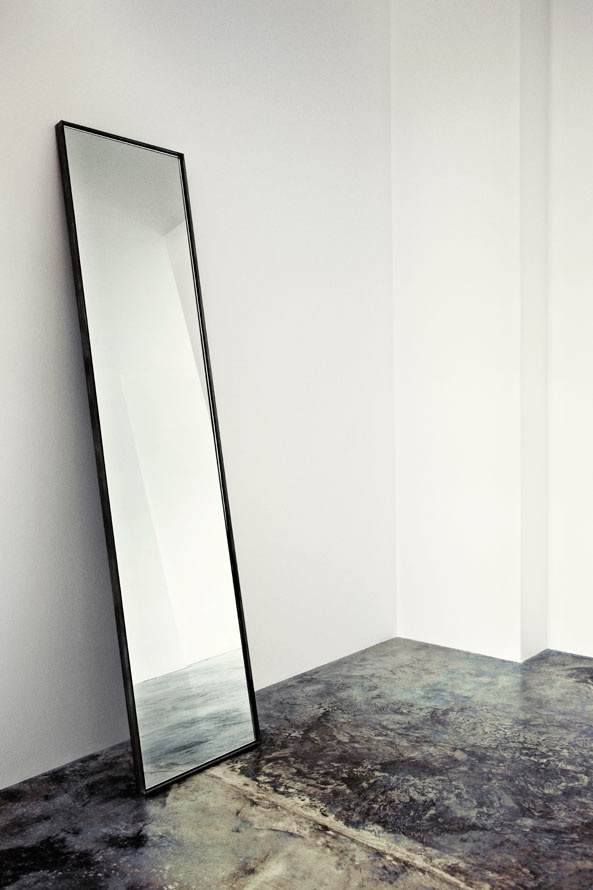 Nicholas Rose handmade steel mirror. Black steel mirror with glow shell and hand swept lacquer. Standard measurements: 45 x 195 cm