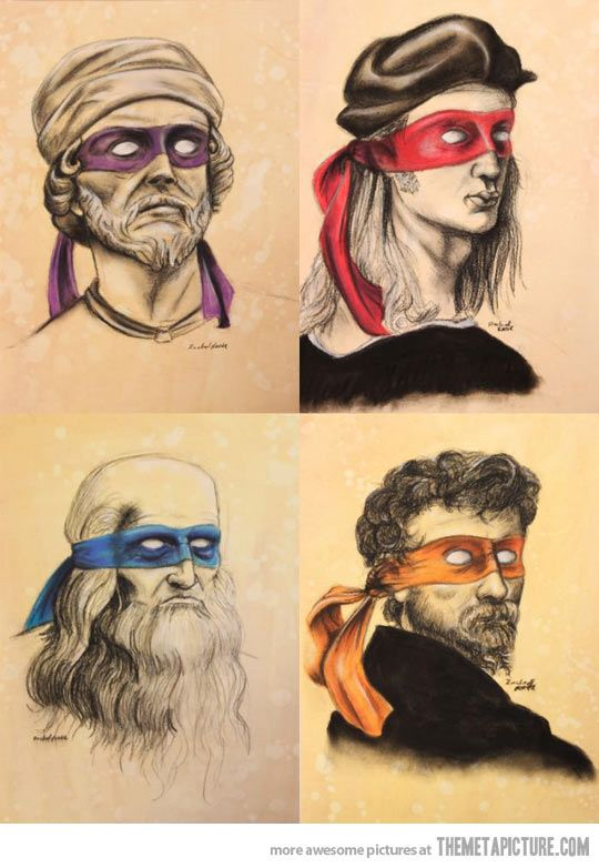 The Adult Mutant Ninja Artists: Donatello, Raphael, Leonardo and Michelangelo - would be really fun in a playroom