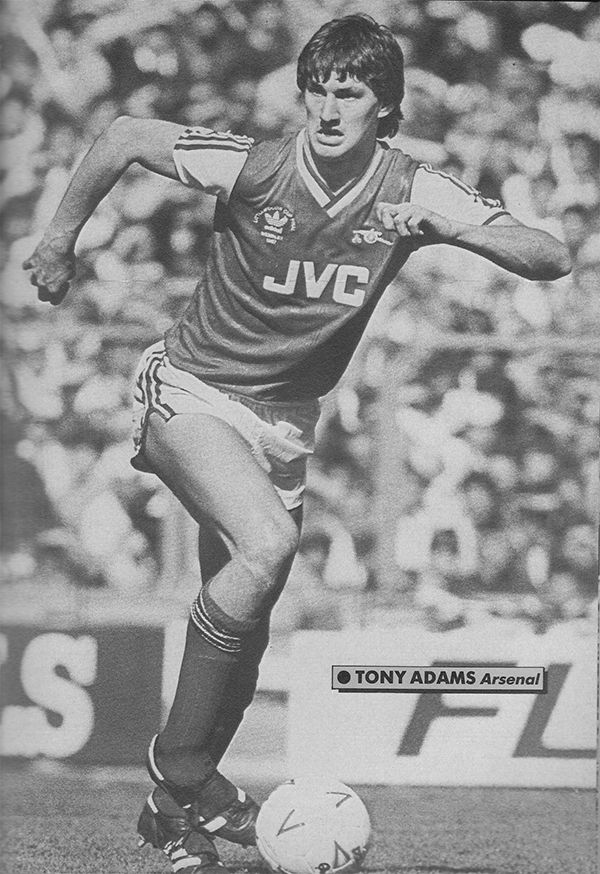 24th April 1988. Arsenal centre half Tony Adams in action against Luton Town in the League Cup Final, at Wembley.