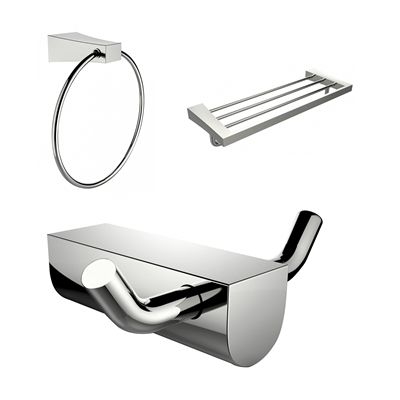American Imaginations AI-13677 Chrome Plated Multi-Rod Towel Rack with Towel Ring and Robe Hook Accessory Set