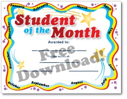 teacher of the month certificate template - free download student of the month certificate free
