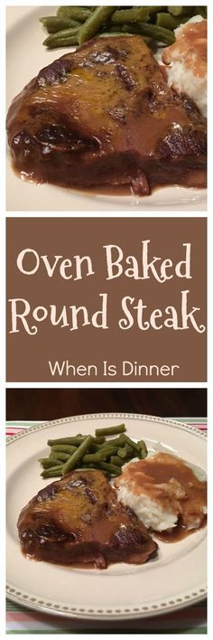 This Oven Baked Round Steak Recipe is delicious and easy to make, requiring just 5 ingredients! via @Kdkaren