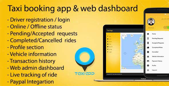 Taxi booking app & web dashboard complete solution v1.7