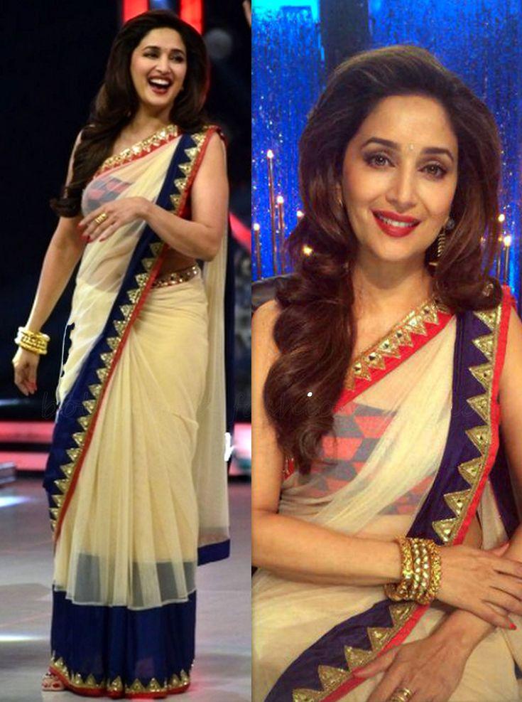 USD 45.83 Madhuri Cream Lace Work Wedding Saree