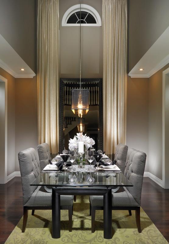 Sleek grey dining room....