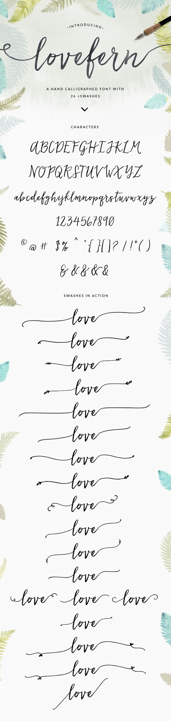 Lovefern Font + SWASHES by Angie Makes on Creative Market