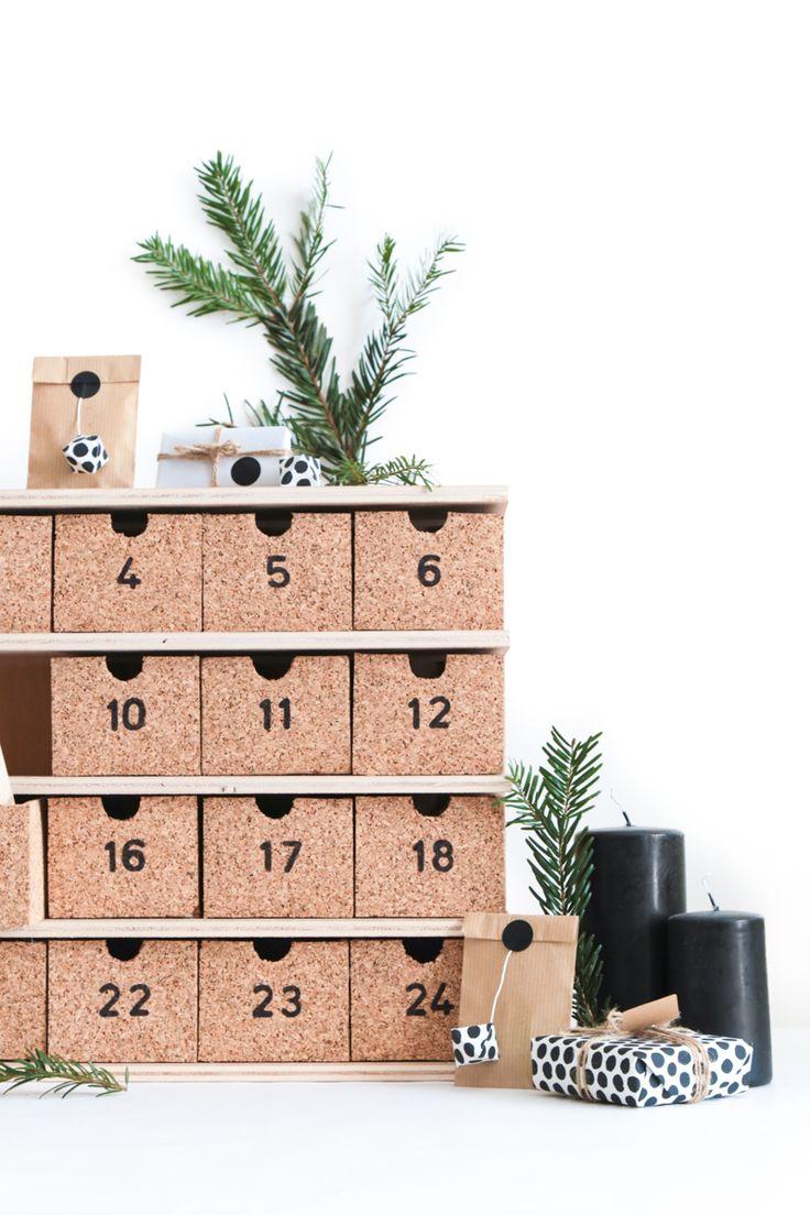 diy calendrier de l 39 avent r utilisable en bois et li ge pour un no l d 39 inspiration scandinave. Black Bedroom Furniture Sets. Home Design Ideas