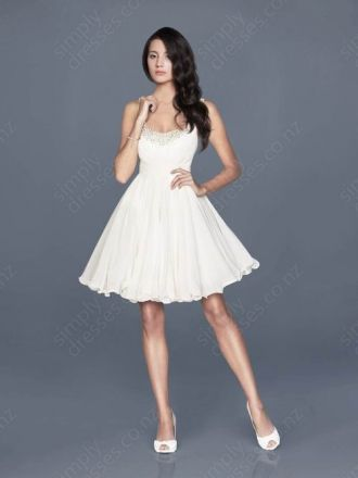 A-line Strapless Chiffon Knne-length Ivory Beading Party Dress at http://www.simplydresses.co.nz/a-line-strapless-chiffon-knne-length-ivory-beading-party-dress-spd-6.html