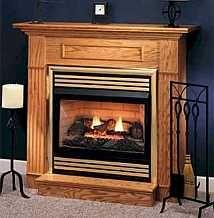 Oak vent free gas fireplace Mantel