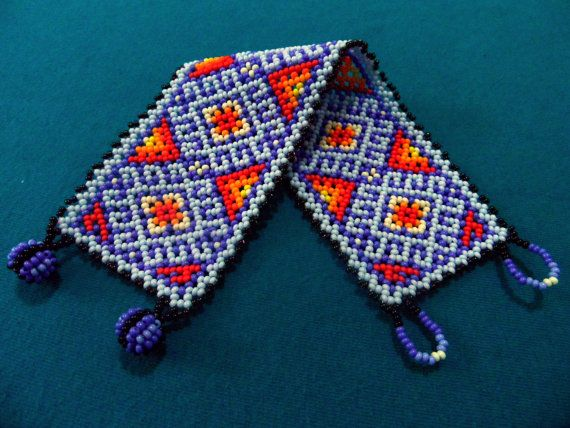 Huichol Bracelet on Etsy... Red and purple blues...