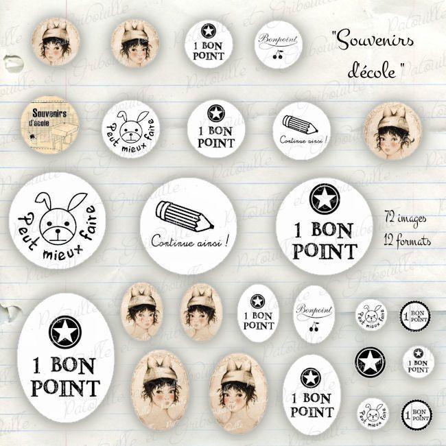 """72 images digitales pour cabochon thème rentrée scolaire """" souvenirs d'école """" : Images digitales pour bijoux par patouille-et-gribouille"""