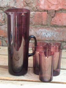 Vintage Mid Century Iittala Finnish Plum i Glass Pitcher Jug & 5 Glasses Lemonade Set Circa 1970s £65