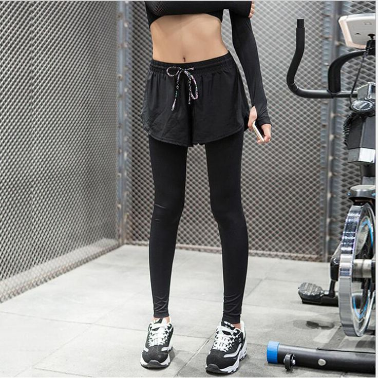 Spring and Autumn new two false yoga clothes fitness pants female thin models of high stretch fast dry breathable running