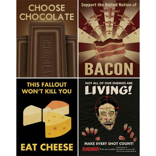 Remember Aaron Wood's social media propaganda posters that went crazy viral? Well, he's at it again with some new propaganda posters about chocolate, cheese, bacon and zombies!