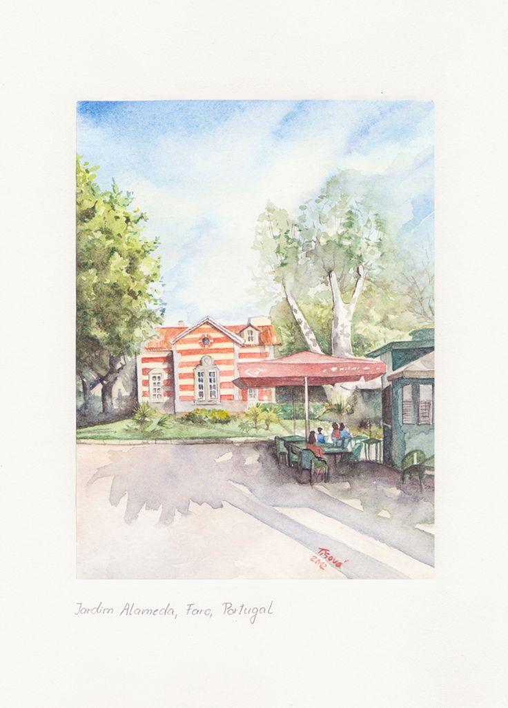 Jardim da Alameda, Faro, Watercolor
