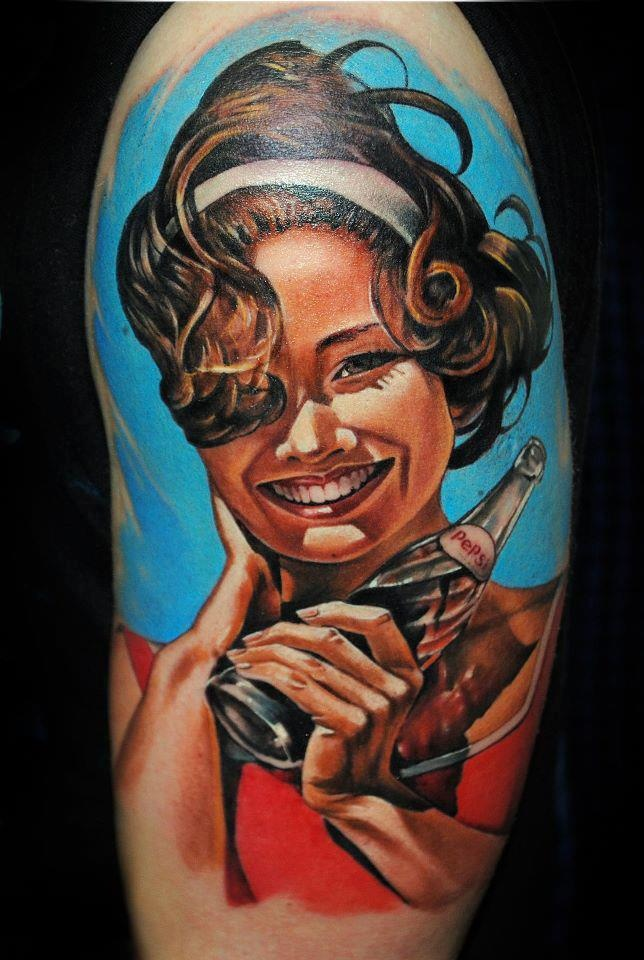 vintage Pepsi pin up girl tattoo. beautiful!