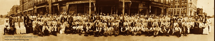 On This Day in History, August 21, 1863:  William Quantrill's band of guerillas attacked Lawrence, Kansas and killed 180 men and boys. Pictured c. 1913 are widows and other survivors who came together 50 years later to honor anniversary of the event.