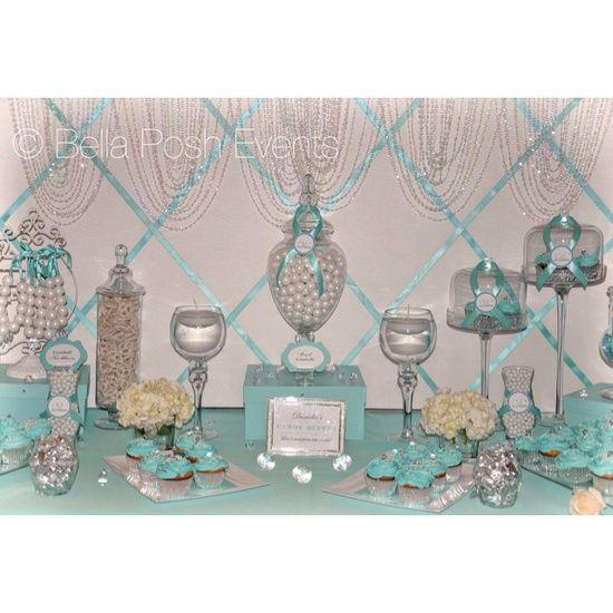 Tiffany Wedding Shower Ideas | Wedding Ideas / Tiffany blue bridal shower dessert station